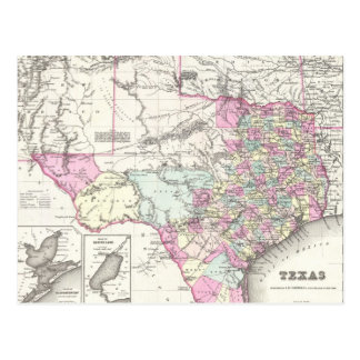 Vintage Map of Texas (1855) Post Card