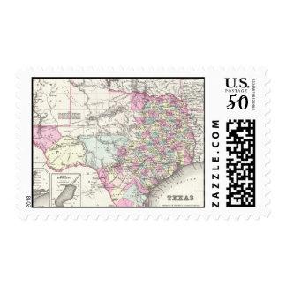 Vintage Map of Texas (1855) Postage