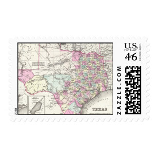 Vintage Map of Texas 1855 Postage Stamp