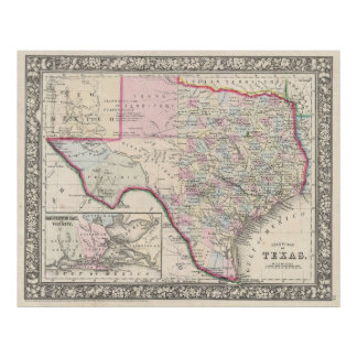 Vintage Map of Texas (1866) Poster