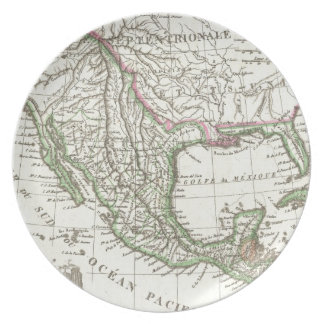 Vintage Map of Texas and Mexico Territories (1810) Dinner Plate