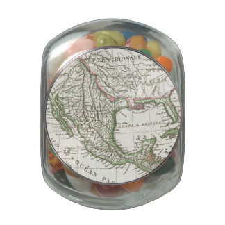 Vintage Map of Texas and Mexico Territories (1810) Glass Candy Jars