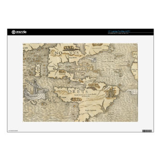 Vintage Map of The Americas (1540) Laptop Decal