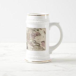 Vintage Map of the Americas (1698) Beer Stein