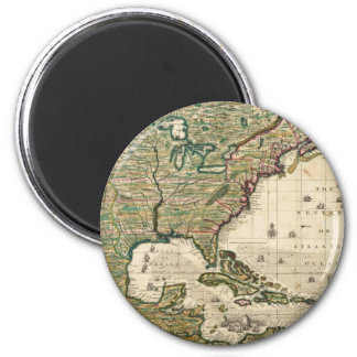 Vintage Map of The Americas (1733) 2 Inch Round Magnet