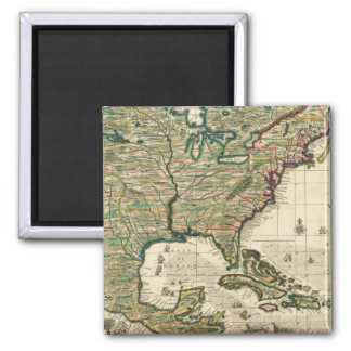 Vintage Map of The Americas (1733) 2 Inch Square Magnet