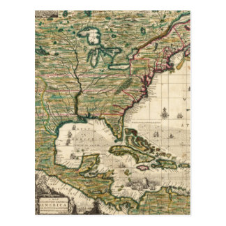 Vintage Map of The Americas (1733) Postcard