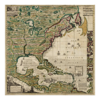 Vintage Map of The Americas (1733) Poster