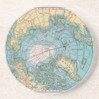 Vintage Map of the Arctic Drink Coaster