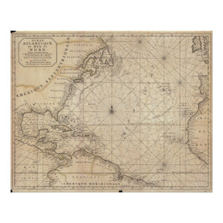 Vintage Map of The Atlantic Ocean (1683) Poster