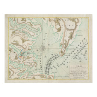 Vintage Map of The Battle of Yorktown (1781) Poster