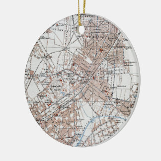 Vintage Map of The Berlin Germany Suburbs (1914) Double-Sided Ceramic Round Christmas Ornament