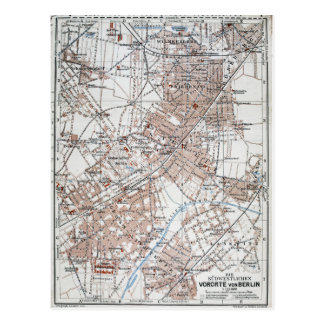 Vintage Map of The Berlin Germany Suburbs (1914) Postcard