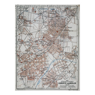 Vintage Map of The Berlin Germany Suburbs (1914) Poster