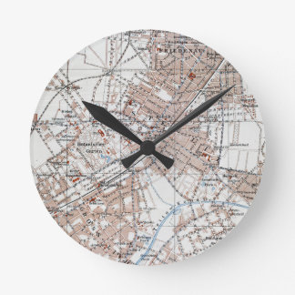 Vintage Map of The Berlin Germany Suburbs (1914) Round Clock