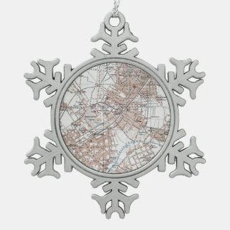 Vintage Map of The Berlin Germany Suburbs (1914) Snowflake Pewter Christmas Ornament