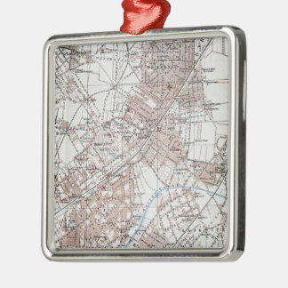 Vintage Map of The Berlin Germany Suburbs (1914) Square Metal Christmas Ornament