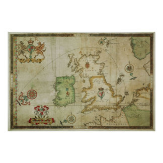Vintage Map of The British Isles (1590) Poster