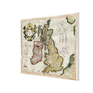 Vintage Map of The British Isles (1596) Canvas Print