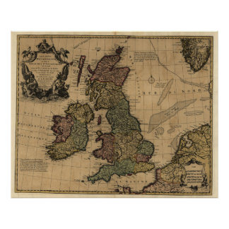 Vintage Map of The British Isles (1700s) Poster