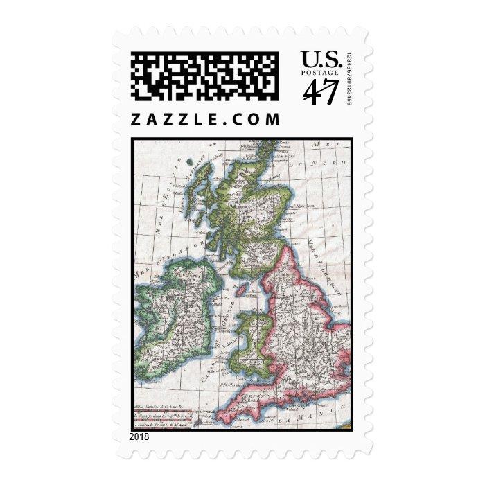 Vintage Map of The British Isles (1780) Postage Stamp