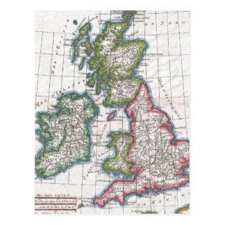 Vintage Map of The British Isles (1780) Postcard