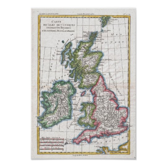 Vintage Map of The British Isles (1780) Poster