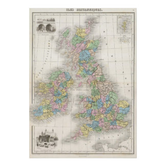 Vintage Map of The British Isles (1878) Poster