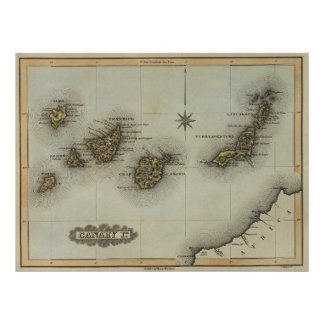 Vintage Map of The Canary Islands (1823) Poster