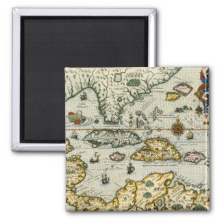 Vintage Map of The Caribbean (1594) 2 Inch Square Magnet