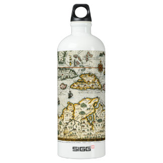 Vintage Map of The Caribbean (1594) Aluminum Water Bottle