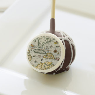 Vintage Map of The Caribbean (1594) Cake Pops