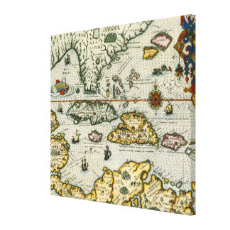 Vintage Map of The Caribbean (1594) Canvas Print