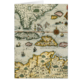Vintage Map of The Caribbean (1594) Card