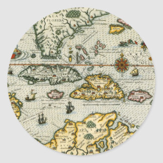 Vintage Map of The Caribbean (1594) Classic Round Sticker