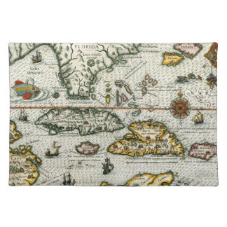 Vintage Map of The Caribbean (1594) Cloth Placemat