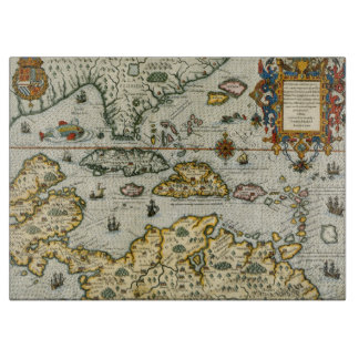 Vintage Map of The Caribbean (1594) Cutting Boards