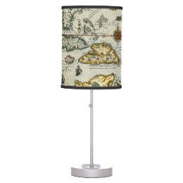 Vintage Map of The Caribbean (1594) Desk Lamp