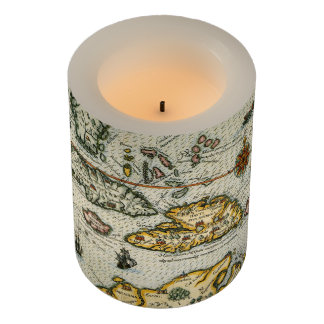 Vintage Map of The Caribbean (1594) Flameless Candle