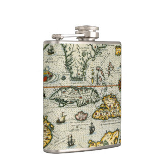 Vintage Map of The Caribbean (1594) Flask