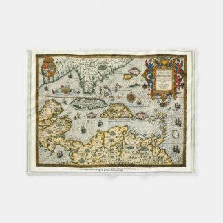 Vintage Map of The Caribbean (1594) Fleece Blanket