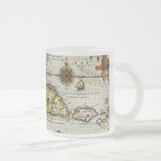 Vintage Map of The Caribbean (1594) Frosted Glass Coffee Mug