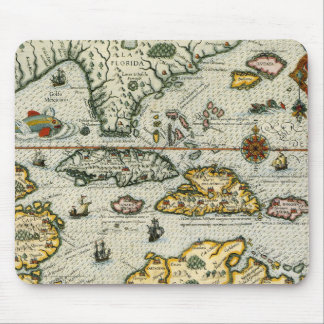 Vintage Map of The Caribbean (1594) Mouse Pad