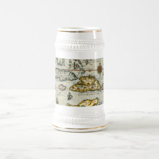 Vintage Map of The Caribbean (1594) 18 Oz Beer Stein