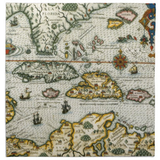 Vintage Map of The Caribbean (1594) Napkin