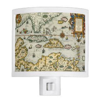Vintage Map of The Caribbean (1594) Nite Lites