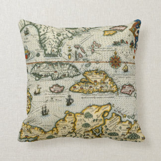 Vintage Map of The Caribbean (1594) Pillow
