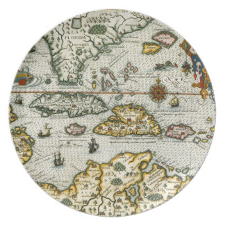 Vintage Map of The Caribbean 1594 Party Plates