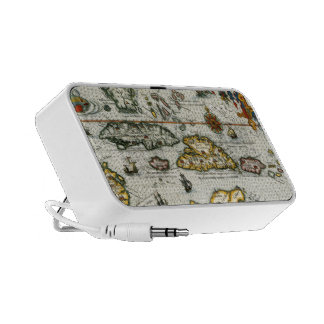 Vintage Map of The Caribbean (1594) Portable Speakers