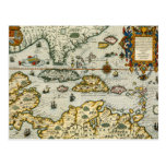 Vintage Map of The Caribbean (1594) Postcard